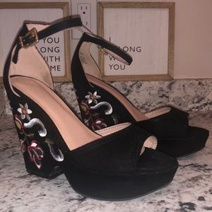 Black Wedges with Embroidered Floral.